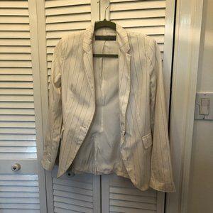 Zara Basic striped jacket white and light gray bro